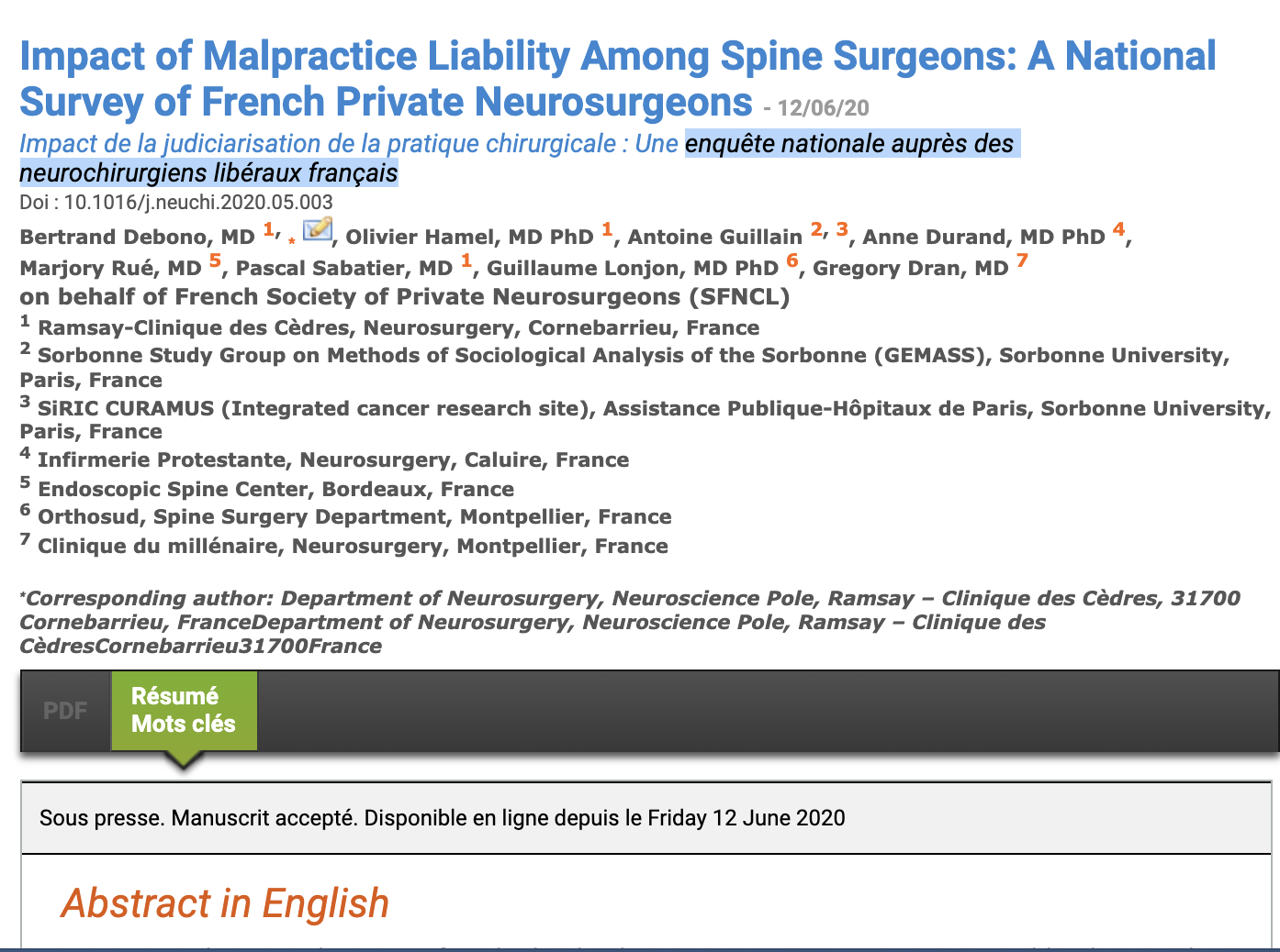 Impact of Malpractice Liability Among Spine Surgeons: A National Survey of French Private Neurosurgeons.